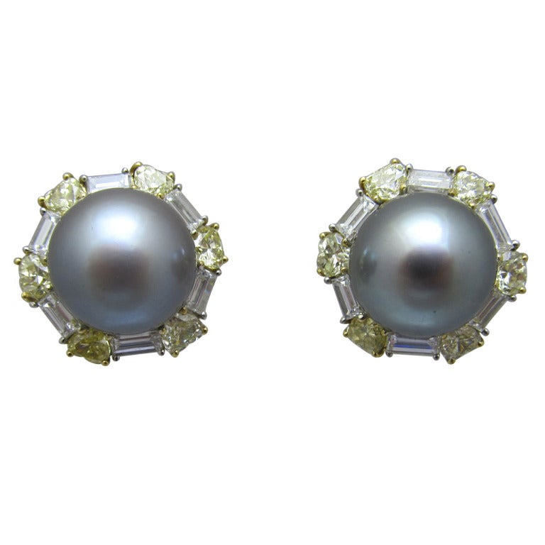 David Morris South Sea Pearl Fancy Yellow Diamond Earrings