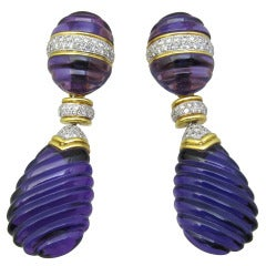 Amathyst & Diamond Earrings