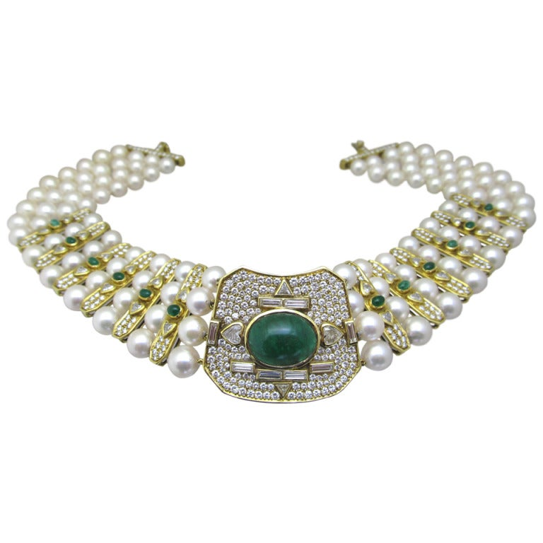 Vintage  Pearl Emerald and Diamond  Necklace