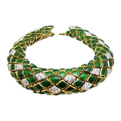 David Webb Diamond and Enamel Bracelet