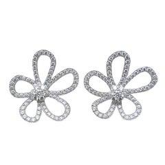 Van Cleef & Arpels Large Flower Lace Diamond Earrings