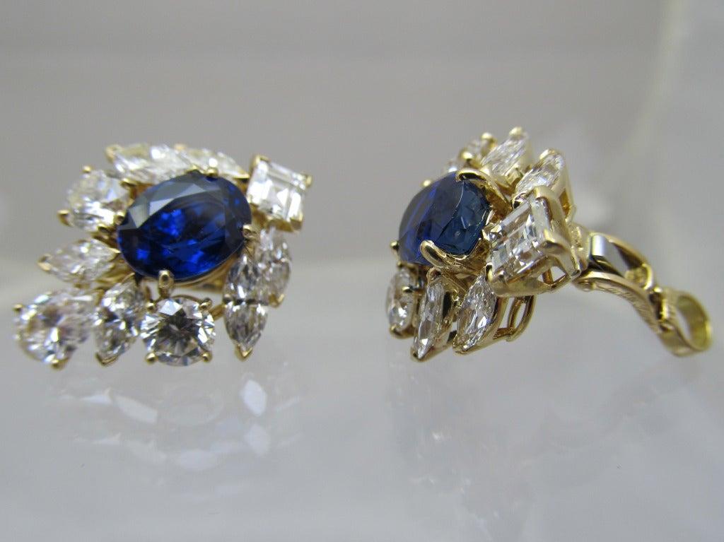 Romantic Cartier GIA Burma No Heat Sapphire Diamond Earrings For Sale