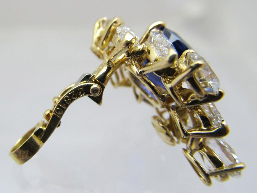 Women's Cartier GIA Burma No Heat Sapphire Diamond Earrings For Sale
