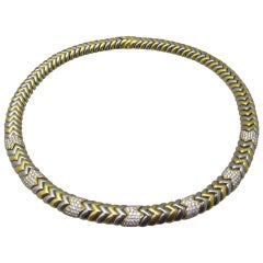 Bulgari Spiga Diamond and Two-Tone Gold Necklace