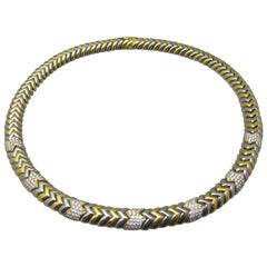 Bulgari Spiga Diamond and Two-Tone Gold Necklace