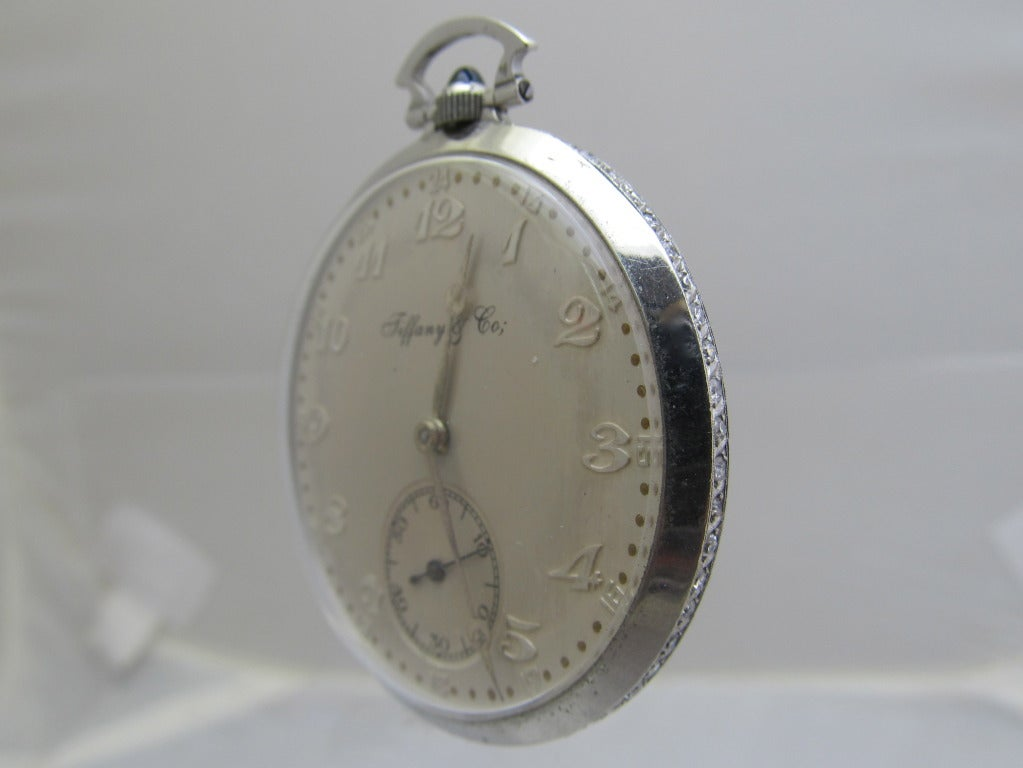 Tiffany And Co Platinum Pocket Watch With Diamond Band At