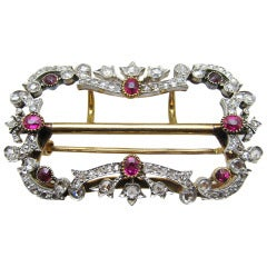 Victorian Diamond and Ruby Brooch/Buckle