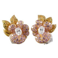 GRAFF  Natural Pink Yellow  White Diamond Earrings
