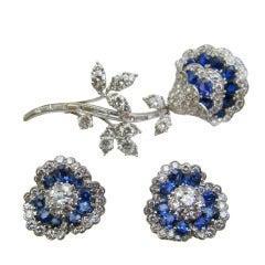 Van Cleef & Arpels  Diamond & Sapphire Floral Demi Parure