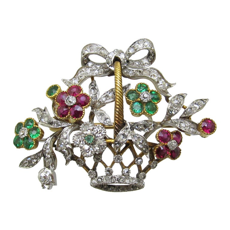 French Floral Diamond Brooch