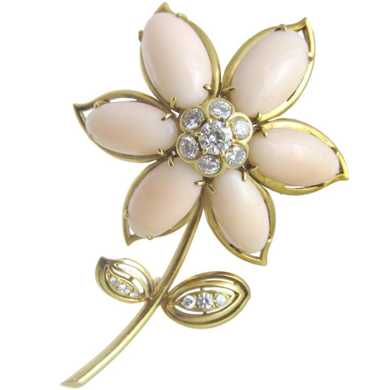 Van Cleef & Arpels Coral Diamond Brooch For Sale