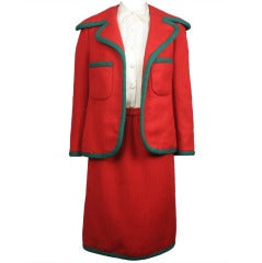 1960s Geoffrey Beene Red and Green Skirt Suit