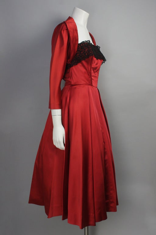 1950s Red Satin and Black Lace Flare Dress and Bolero Jacket 2