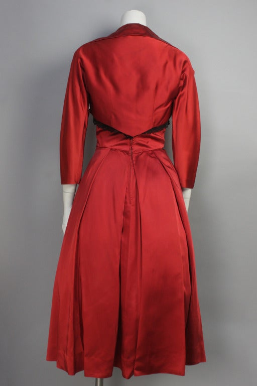 1950s Red Satin and Black Lace Flare Dress and Bolero Jacket 3