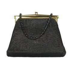 1950s Whiting and Davis Black Diamond Mesh Handbag