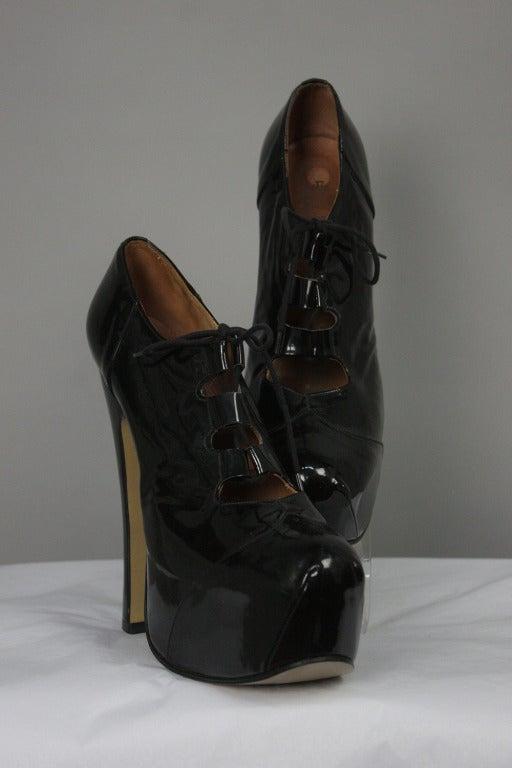 1993 Vivienne Westwood Black Patent Platform High Heel Shoes 2