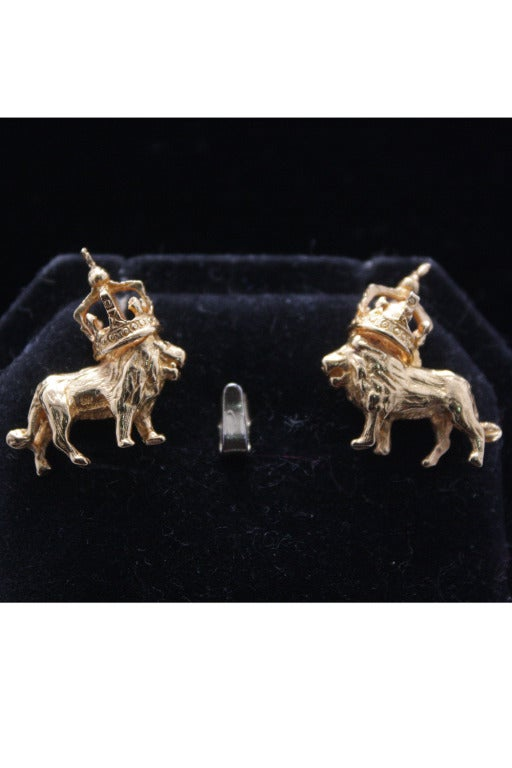 Tom Binns Lion and Crown Dada Post Earrings 2
