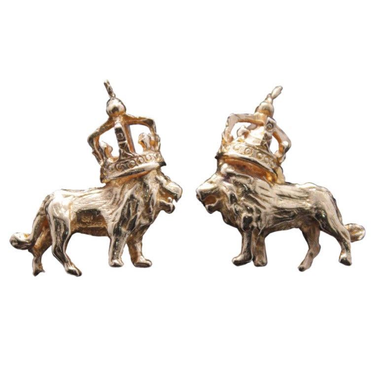 Tom Binns Lion and Crown Dada Post Earrings 1