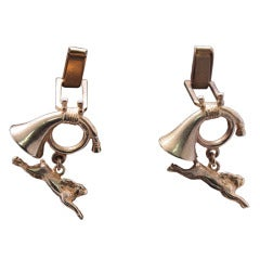 Tom Binns French Horn and Hare Cufflinks
