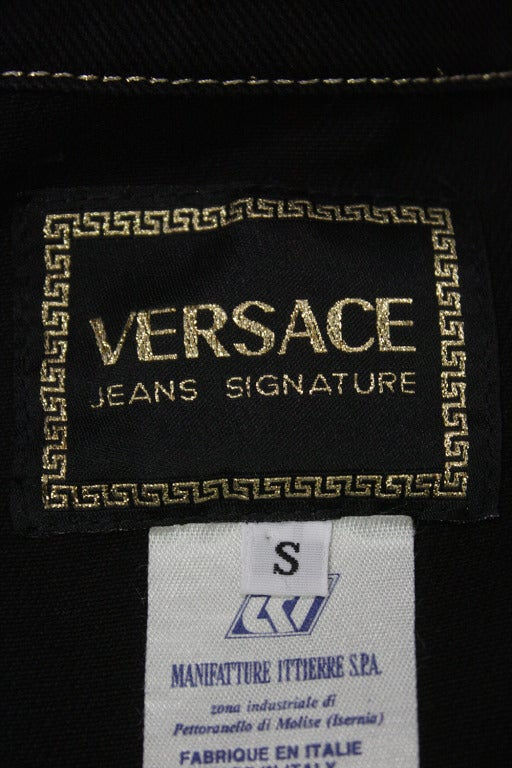 Versace Black and Gold Jean Jacket For Sale 1