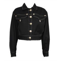 Versace Black and Gold Jean Jacket