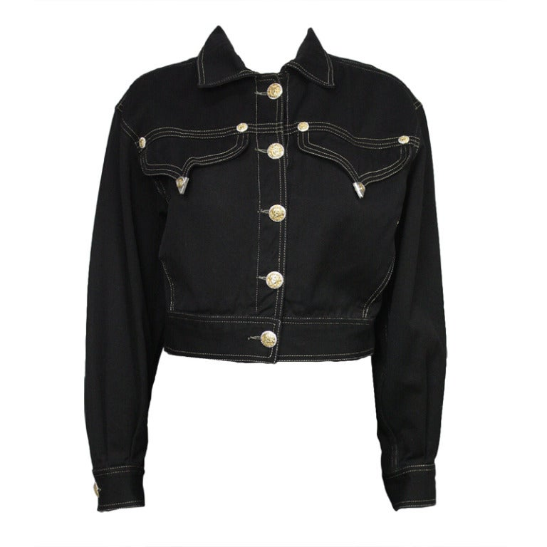 Versace Black and Gold Jean Jacket For Sale