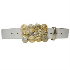 Comme des Garcons White Leather and Gold Buckle Belt