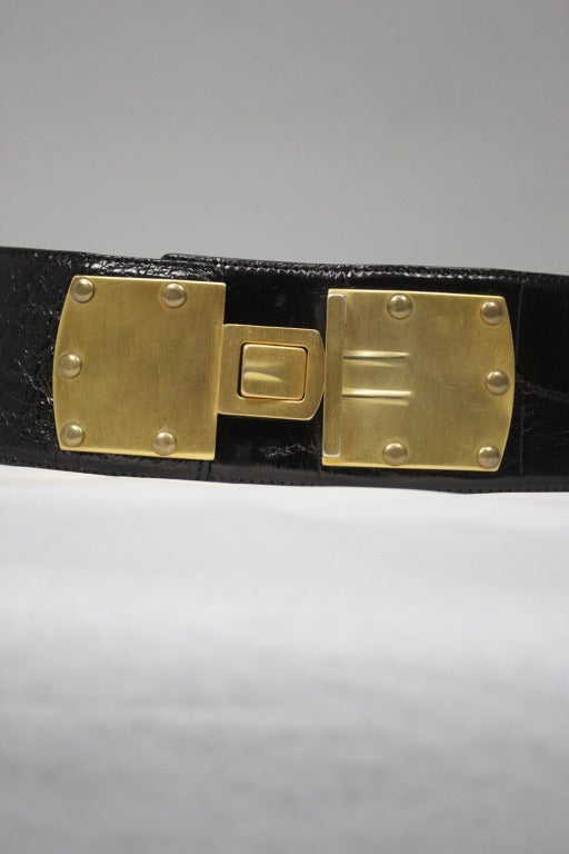 Donna Karan Alligator Belt with Detachable Chain 6