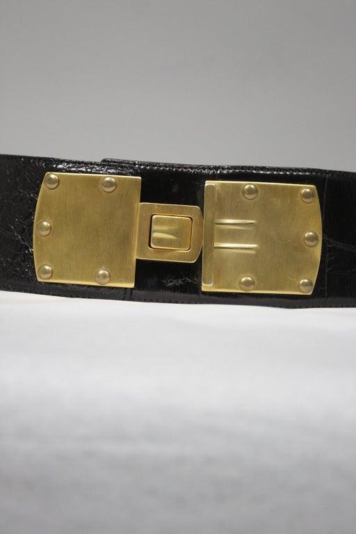 Donna Karan Alligator Belt with Detachable Chain For Sale 1
