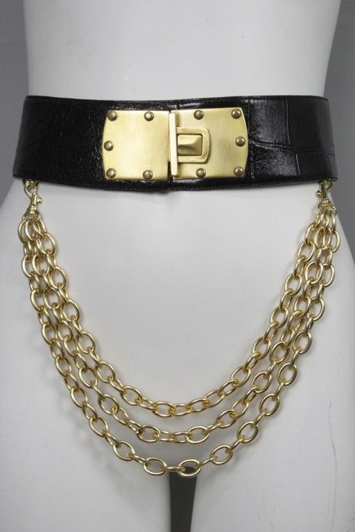 Donna Karan Alligator Belt with Detachable Chain 2
