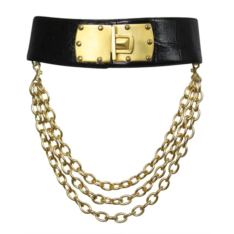Donna Karan Alligator Belt with Detachable Chain 1