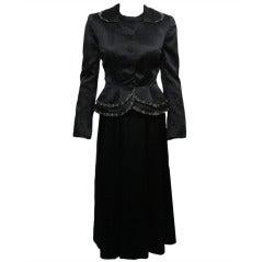 1950s Satin Beaded Hattie Carnegie Dress & Jacket Ensemble