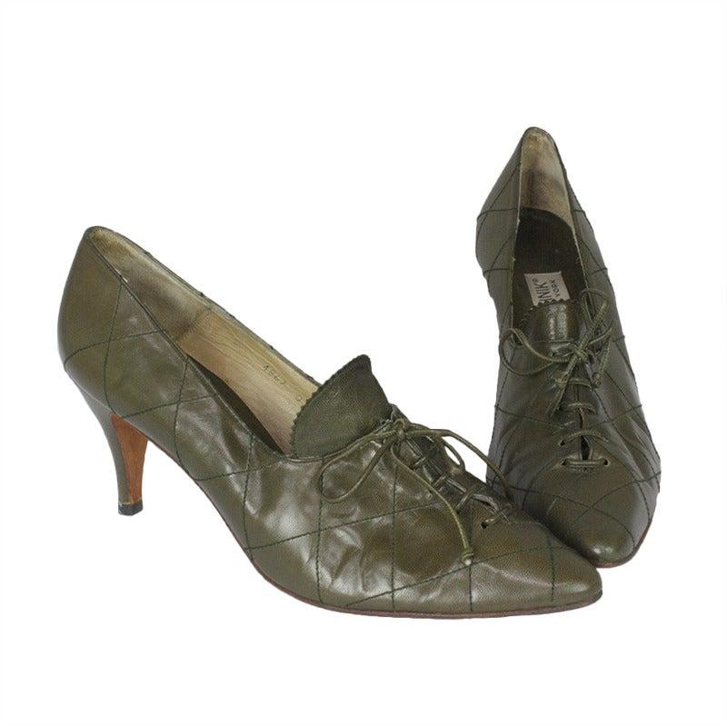 1980s Manolo Blahnik Olive Green Oxford Heels