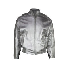 Claude Montana 1980s Silver Leather Jacket