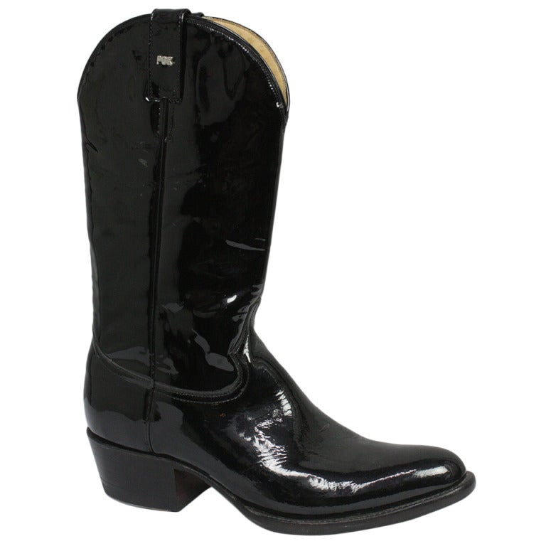 black patent leather cowboy boots at 1stdibs