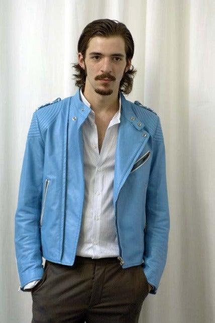 Mens Blue Leather Jacket - Jacket