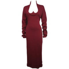 1980s Romeo Gigli Burgundy Dress