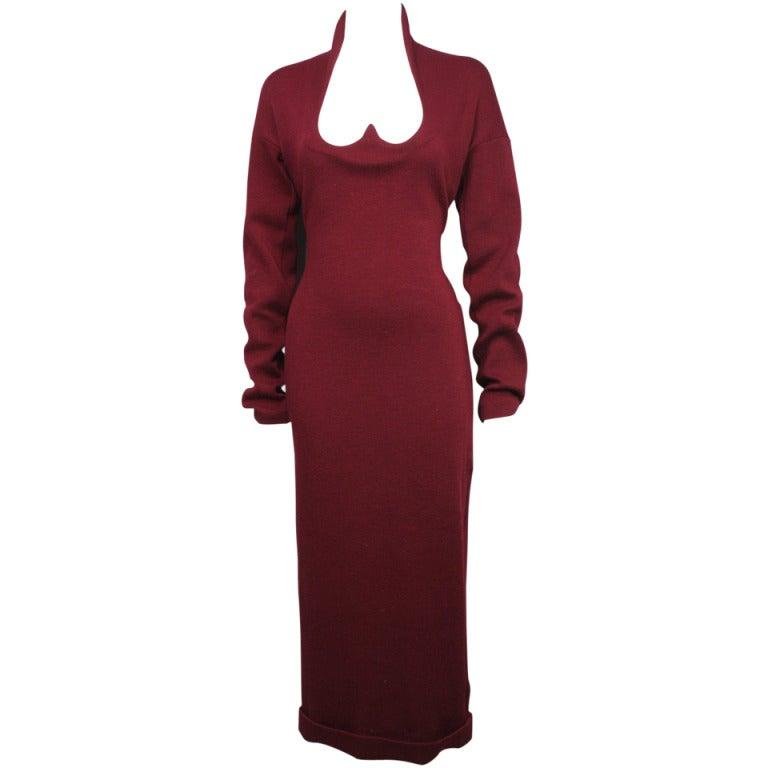 1980s Romeo Gigli Burgundy Dress