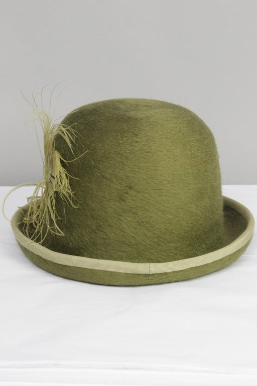 Brown Patrick McDonald's Green Feather Bowler For Sale