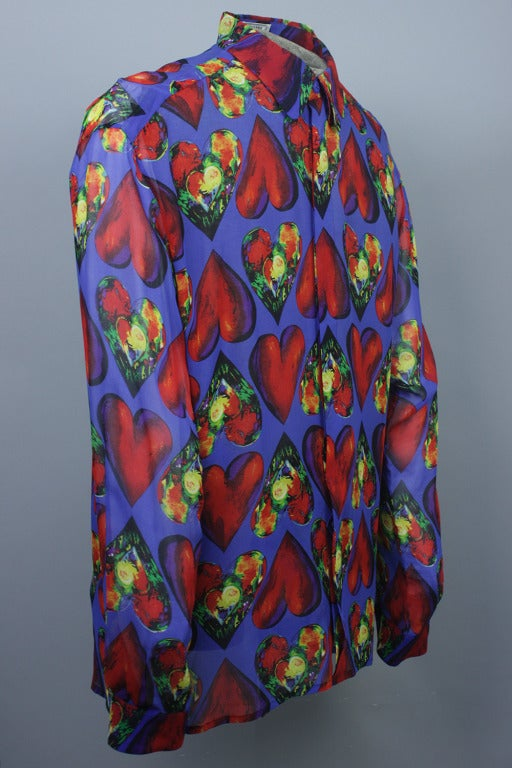 Late 1980s Men's Gianni Versace Sheer Silk Chiffon Shirt 2