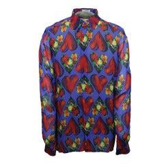 Late 1980s Men's Gianni Versace Sheer Silk Chiffon Shirt