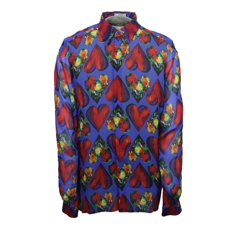 Late 1980s Men's Gianni Versace Sheer Silk Chiffon Shirt 1