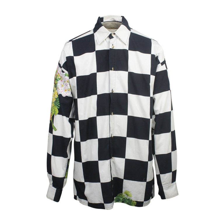 1990s Versace Jeans Couture Men S Checkerboard Print Shirt