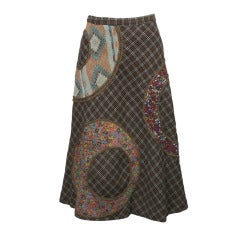 1970s Koos van den Akker Wool Patchwork Skirt