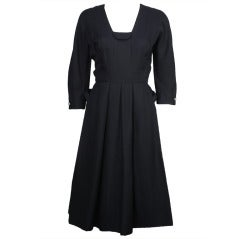 1950s Hattie Carnegie Navy Blue Dress