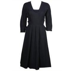 1950s Hattie Carnegie Navy Blue Dress
