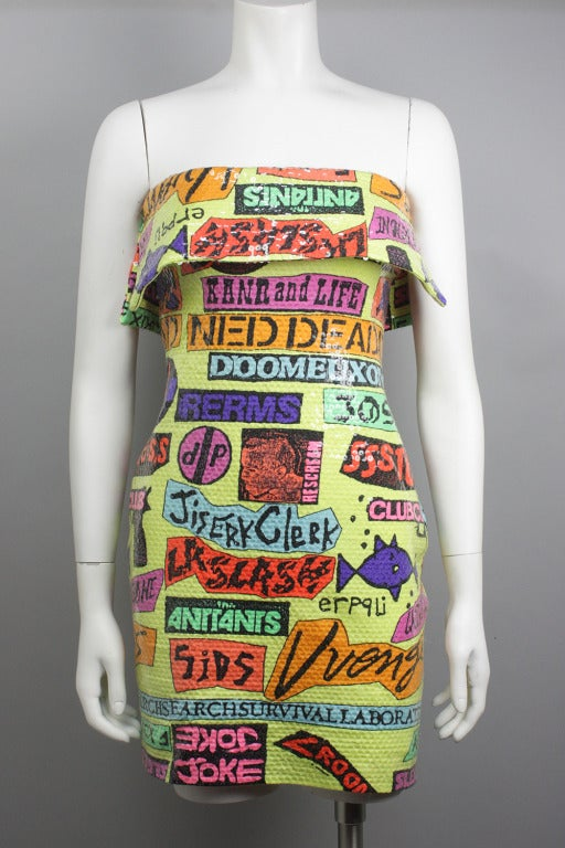 Sequined Stephen Sprouse Rock Sticker Dress 2
