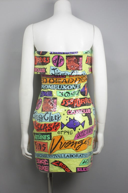 Sequined Stephen Sprouse Rock Sticker Dress 4