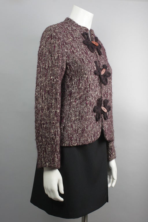 Gray 1980s Pierre Balmain Wine Multicolor Wool Tweed Jacket and Scarf For Sale