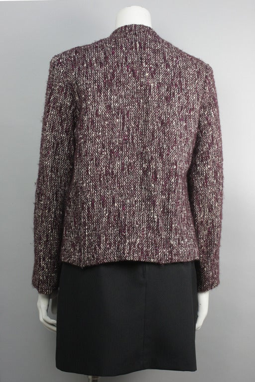 1980s Pierre Balmain Wine Multicolor Wool Tweed Jacket and Scarf In Excellent Condition For Sale In New York, NY
